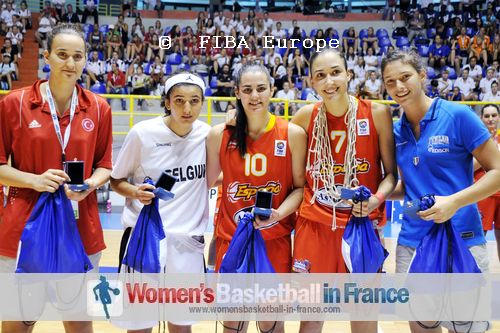 2011 U16 Division A all-tournament team: Hülya Coklar, Hind Ben Abdelkader, Leticia Romero, María Arrojo and Cecilia Zandalasin    © FIBA Europe - Castoria/Gregolin
