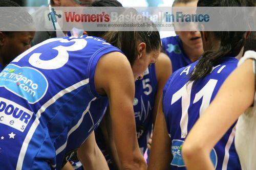 Basket Landes players in the huddle