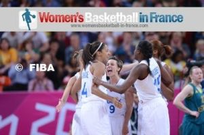 Céline Dumerc, Emméline Ndongue, Jennifer Digbeu  ©  FIBA