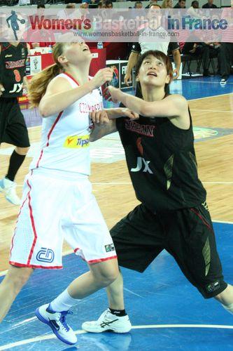 2012 FIBA Olympic Qualifying Tournament for Women: Alena Hanusová and Yuka Mamiya ©  womensbasketball-in-france.com