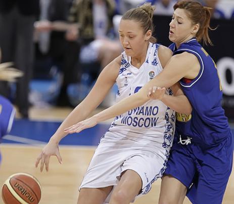 Anastasia Logunova battling away for Dynamo Moscow©  FIBA Europe