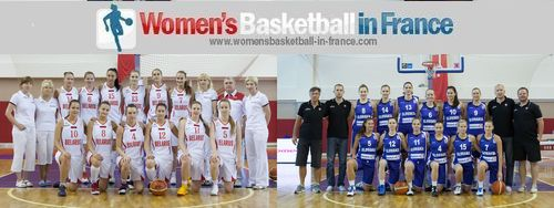 Belarus and the Slovak Republic official team pictures from the 2013 U20 European Championship for  Women Division A