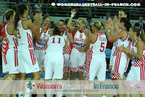 2012 FIBA Olympic Qualifying Tournament for Women: Croatian players celebrate qualifying for the 2012 Olympic games ©  womensbasketball-in-france.com