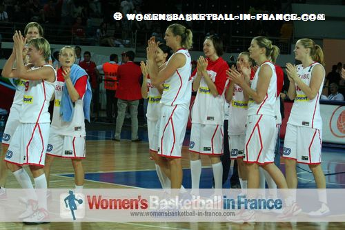 2012 FIBA Olympic Qualifying Tournament for Women: The Czech Republic players celebrate qualifying for the 2012 Olympic games ©  womensbasketball-in-france.com
