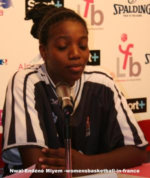 Nwal-Endéné Miyem at the Open LFB 2009 in Paris press conference  © womensbasketball-in-france.com