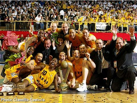 USVO celebrate after winning EuroLeague Women in 2003