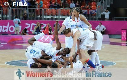 French players after qualifying for the 2012 Olympic Semi-final ©  FIBA