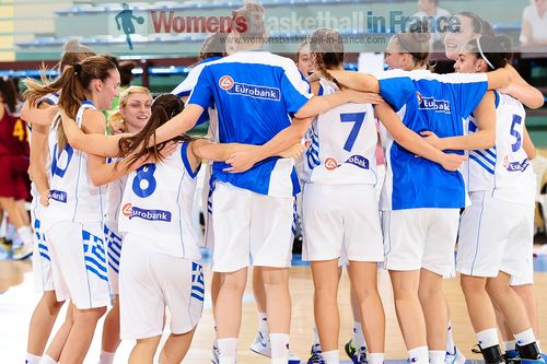 Greek U18 players celebrating after qualifying for second round