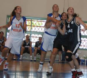 Netherlands playing basketball against Israel in Eilat copy; WomensBasketball-in-france.com
