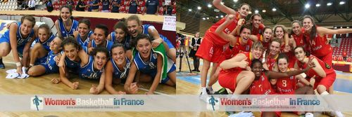 Spain U16 and Italy U16 players celebrating in Miskolc after qualifying for 2012 FIBA  Europe U16 European Championship final © womensbasketball-in-france.com