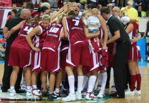 Latvia after beating the Czech republic at  EuroBasket Women 2009 © womensbasketball-in-france.com