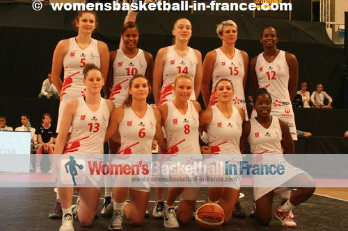 Lyon BF 2012-13 team picture from the open: 4 Maria Sanchez, 5 Romy Bär, 6 Alexia Plagnard 7 Leslie Makosso, 8 Mélanie Plust, 10 Leslie Ardon, 12 Mame-Marie Sy Diop, 13 Sara Chevaugeon, 14 Danielle Page, 15 Emilija Podrug
