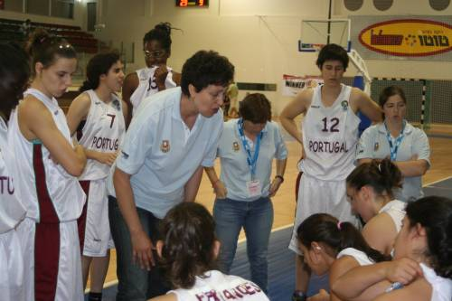 Portugal discuss basketball tactics after first period © WomensBasketball-in-france.com