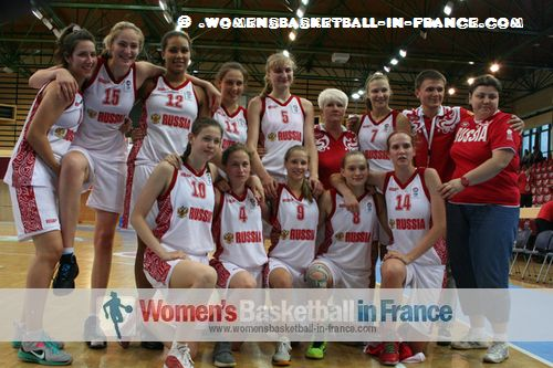 Russia U16 players celebrating in Miskolc © womensbasketball-in-france.com