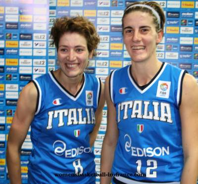 Simona Ballardini and Raffaella Masciadriin Riga Latvia for EuroBasket WOmen 2009 ©Castoria Fiba Europe