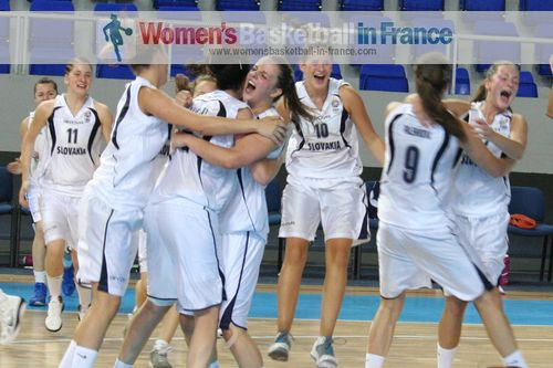 Slovak Republics celebrating after beating Great Britain © womensbasketball-in-france.com