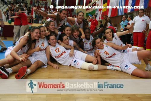 Spanish U16 players celebrating in Miskolc © womensbasketball-in-france.com
