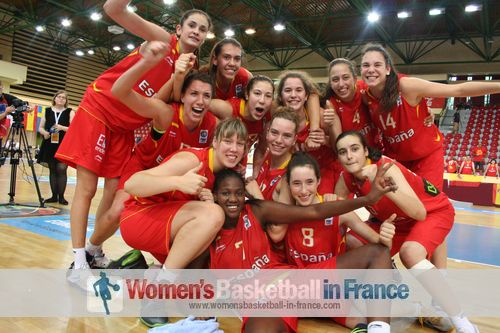 Spain U16 players celebrating in Miskolc after qualifying for 2012 FIBA  Europe U16 European Championship final © womensbasketball-in-france.com
