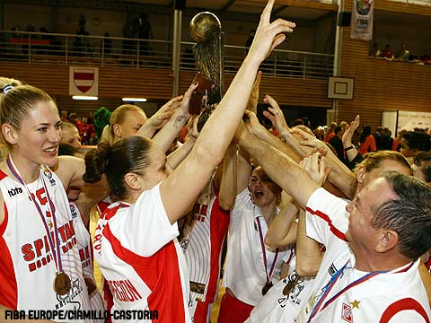 EuroLeague Women 2008 champions Spartak Moscow hold the trophy