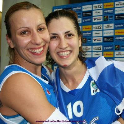 Styliani Kaltsidou and Pelagia Papamichail EuroBasket Women 2009 © womensbasketball-in-france