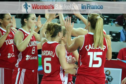 Players from Turkey celebrate victory at Olympic Qualifying Tournament ©  womensbasketball-in-france.com