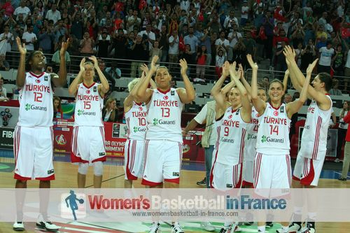 2012 FIBA Olympic Qualifying Tournament for Women: Turkish players celebrate qualifying for the 2012 Olympic games ©  womensbasketball-in-france.com