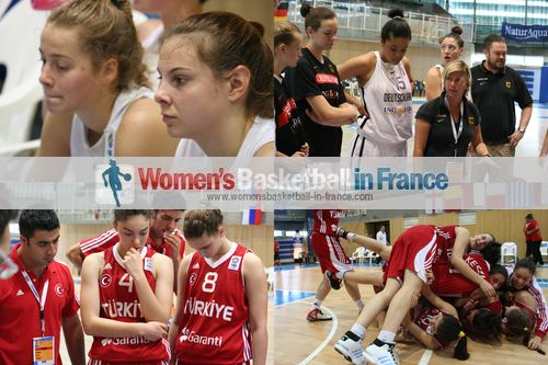 German and Turkish U16 players in Miskolc at the 2012 FIBA Europe U16 European Championship © womensbasketball-in-france.com