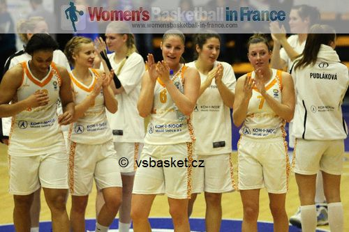 Marshae Dotson, Karolína Elhotová ,Lenka Bartáková  and VS Prague players