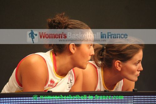 Clémentine Samson and Isabelle Strunc looking on from the bench in Paris