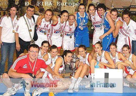 Croatia U18 player with Artemis Spanou and Georgina Kantara   © FIBA Europe