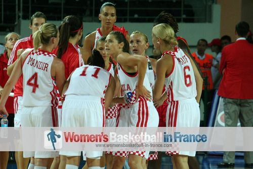 Players from Croatia celebrate victory at Olympic Qualifying Tournament ©  womensbasketball-in-france.com
