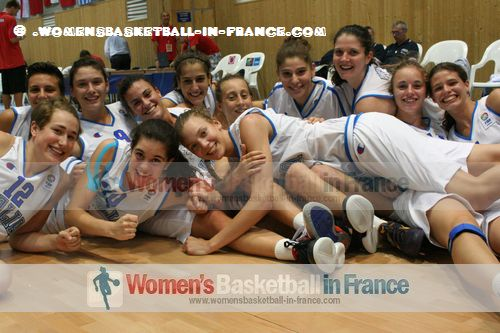 Italy U16 after beating France in Miskolc © womensbasketball-in-france.com