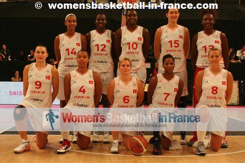 Entente Sportive Basket Villeneuve d'Ascq Lille Métropole (ESBVA-LM) team picture: 4 Caroline Lemoine 6 Émilie Duvivier, 7 Bintou Diémé, 8 Stéphanie Dubois, 9 Amélie Pochet, 10 Jennifer Digbeu,  12 Alice Nayo, 13 Olayinka Sanni, 14 Lenae Williams, 15 Sandra Pirsic.