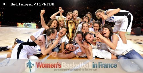 The young players from Basket Landeswith the French Cup trophy © Bellenger/IS/FFBB