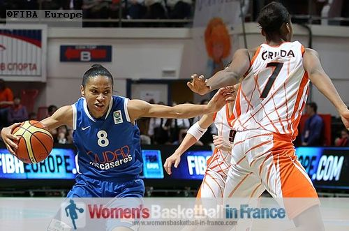 French players in action at EuroLeague final four: Edwige Lawson-Wade, Céline Dumerc and Sandrine Gruda   © FIBA Europe