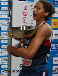 Emméline Ndongue walking away with the European cup © womensbasketball-in-France.com