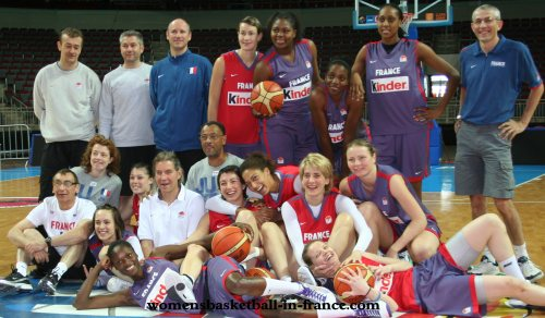 The French women 2009 teams and staff at last training session in Riga, Latvia