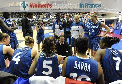 France U19 at time-out during U19 World Championship against Spain © FIBA