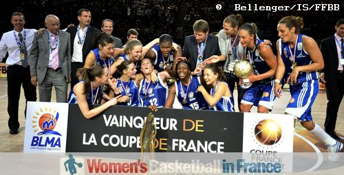 The Players from Lattes Montpellier with the Joë Jaunay trophy © Bellenger/IS/FFBB