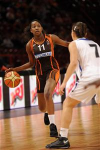 Madou M'Bengue playing for Bourges Basket during the Cadettes French cup final 2009 © FFBB