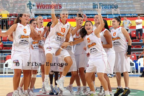 Spanish U18 players celebrate another victory at the  U18 European Championship © FIBA Europe / Viktor Rébay