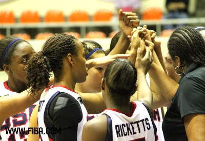 USA in the hoddle after beating Canada in Thailand © FIBA