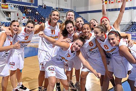 Players from Spain U18 celebrating in Poprad © FIBA Europe