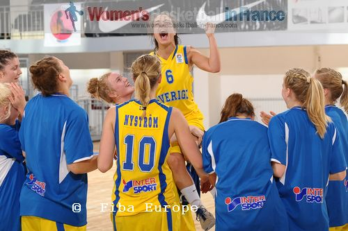 Swedish U18 players celebrate another victory at the  U18 European Championship © FIBA Europe / Viktor Rébay